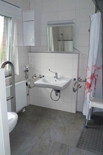 ebenerdiges Bad, 120x120cm grosse Dusche, Kippspiegel, Stützgriffe ...